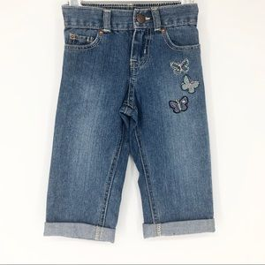 OshKosh Girls 4T Denim Butterfly Capris w/Cuff